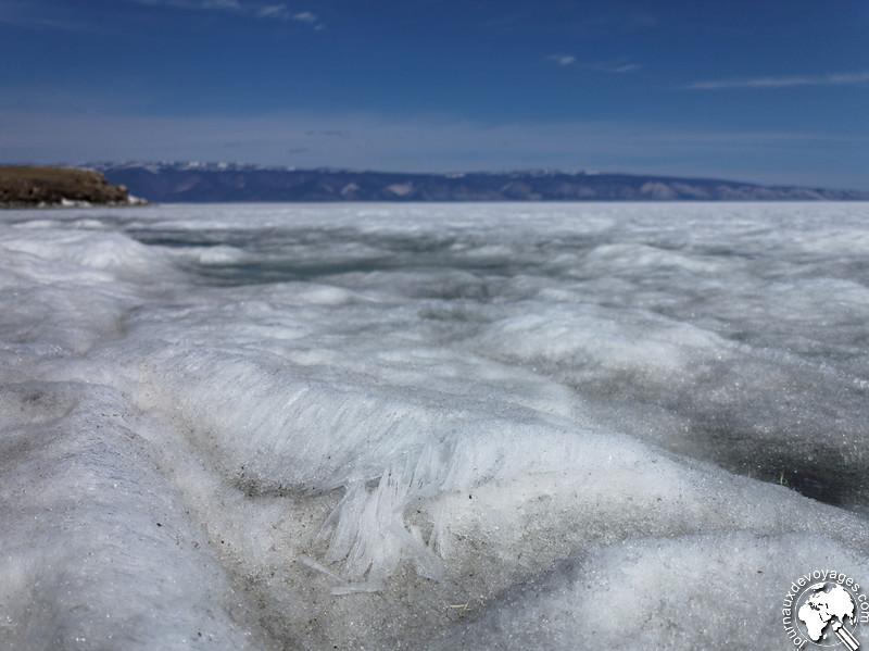 Glace du lac Baïkal en cours de dégel