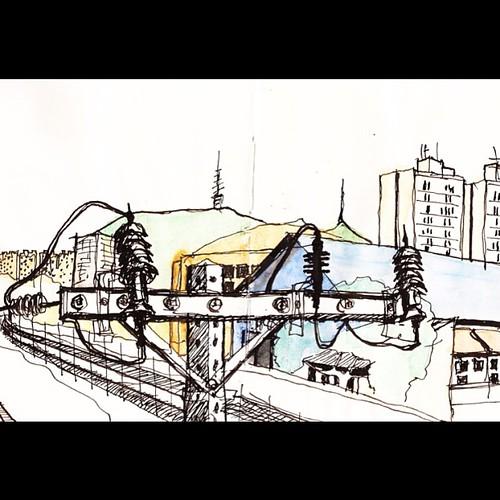 Caligrafia Urbana: Bzzz a Lapa e o Jaraguá no fim da cidade. Só faltou o trem...#saopaulosp #saopaulocity #desenho #drawing by Dalton de Luca
