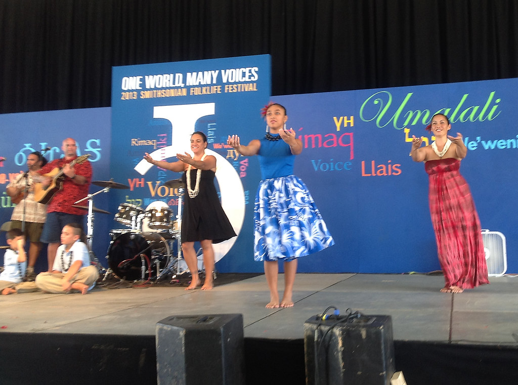 <p>University of Hawaii faculty and their ohana share Hawaiian oli and hula with Smithsonian Folklife Festival audiences.</p>