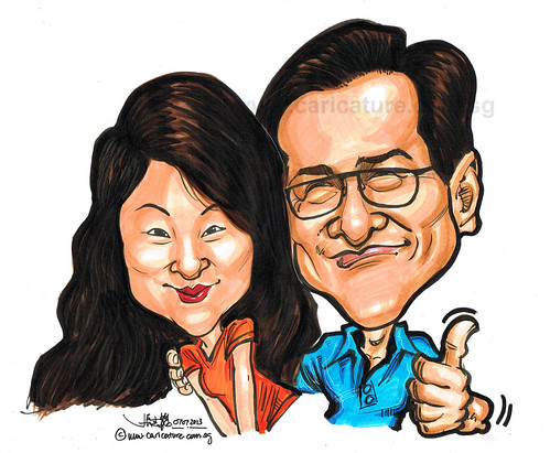 couple caricatures in colour marker 07072013 - 1