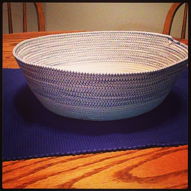 So, sometimes I make a bowl out of rope and really wish I had some lemons or apples or bread to artfully arrange in it.