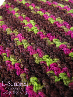 Close-up of the skinny diagonal lines of the cuffs which alternate from pink and green to brown.