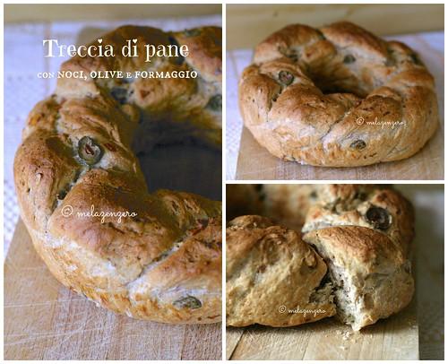 Treccia di pane con noci olive e formaggio