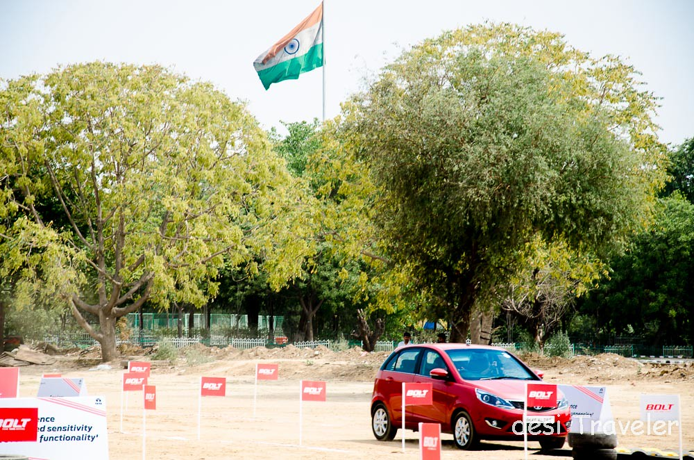 Tata Bolt Car with Indian Flag in background Make In India