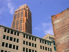 Detroit skyscraper, parking garage, and brick wall
