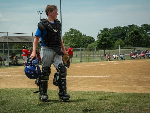 park boy summer child baseball helmet sweaty american catcher league