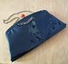 Vintage 1960s Navy Blue Patent Leather Purse w/ Chrome Chain Handle