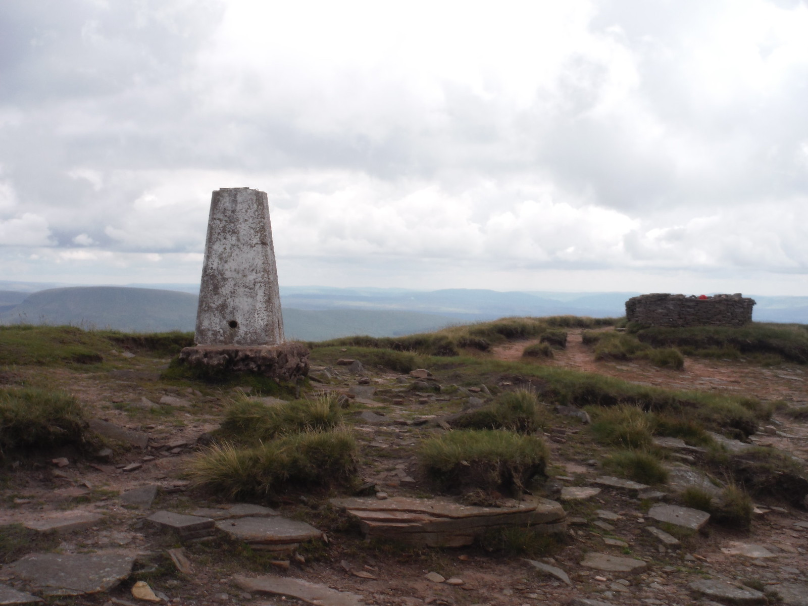 Trigpoint and Storm Shelter on Fan Brycheiniog SWC Walk 279 The Black Mountain - Y Mynydd Du (Glyntawe Circular)