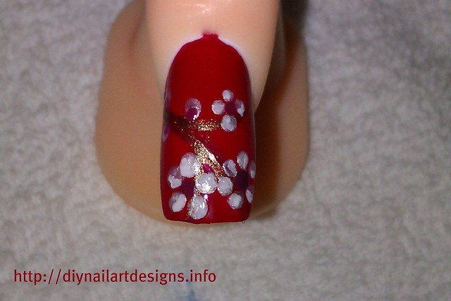 Simple nail designs red nail art design with hand painted spring