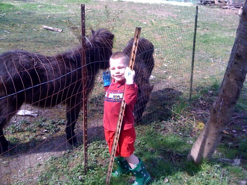 Connor hanging out with the minis next door :)
