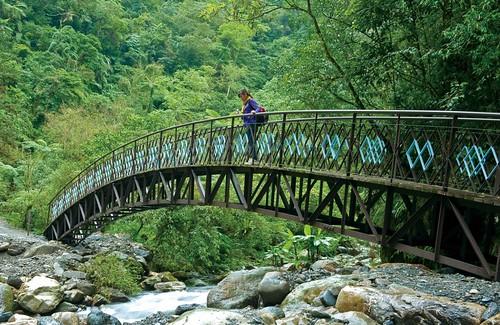 代表祖靈之眼,具泰雅風格的拱橋。(圖片來源:羅東林管處)