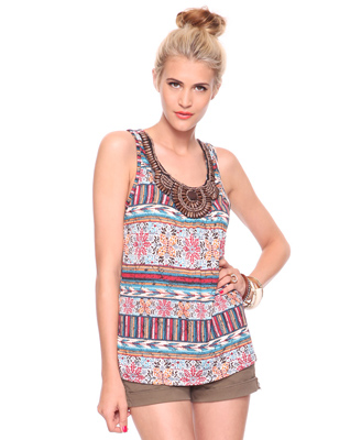 Wooden Bead Bib Tribal Tank