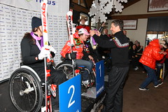 Kimberly Joines receives her gold medal for her win in an IPC World Cup super combined in Panorama, B.C.