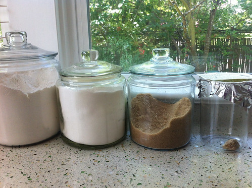 Kitchen counter of a gardener: flour, sugar, praying mantis pod