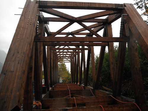 The longest, single-space timber truss bridge in North America is currently under construction on the Chugach National Forest in Alaska.  Photo Credit: Forest Service photo