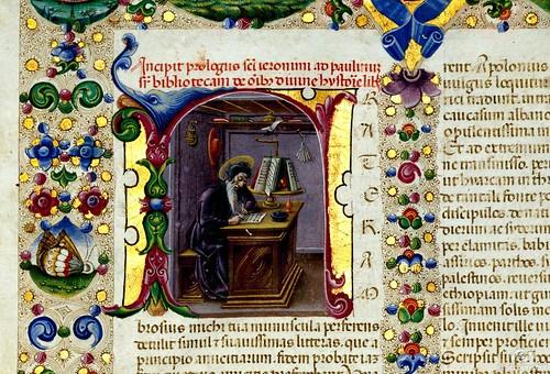 002-Bibbia di Borso d'Este-Vol 1- fol 5-Detalle- Biblioteca Estense de Módena