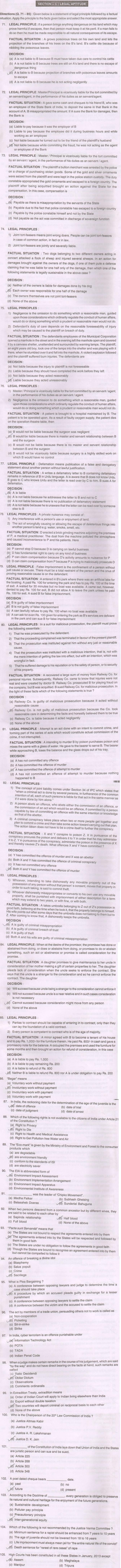 AILET 2013 Question Papers with Answer Key – Legal Aptitude