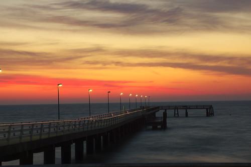 bridge night sunrise cloudy