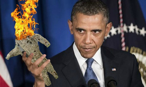 Obama Burning a Strawman