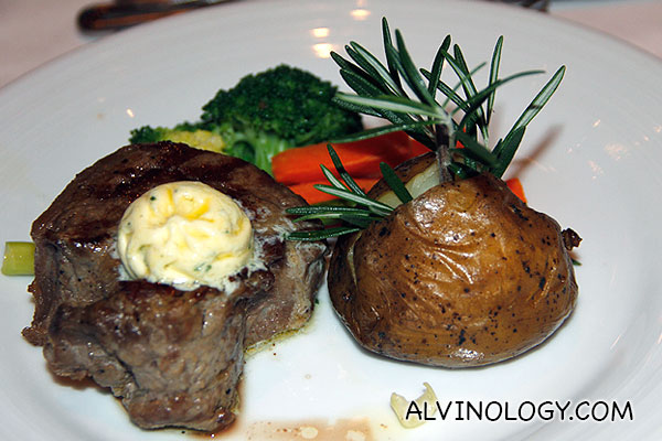 My steak main course with baked potato