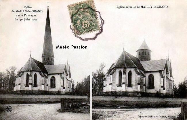 église de Mailly-le-Grand en Champagne décapitée de son clocher par les violentes rafales de l'orage du 30 juin 1905 météopassion