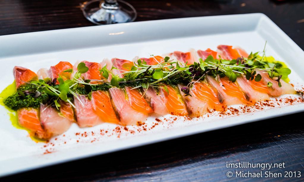 Salmon & kingfish carpaccio Jazushi