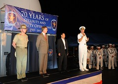 Adm. Samuel Locklear, commander, U.S. Pacific Command, right, speaks during a closing ceremony in Cairns, Australia, for Talisman Saber 2013 aboard the U.S. 7th Fleet's flagship USS Blue Ridge (LCC 19), July 29. (U.S. Navy photo by Mass Communication Specialist 1st Class Joshua Karsten)