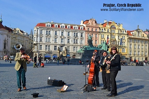 Street musicians in the Old Town Square