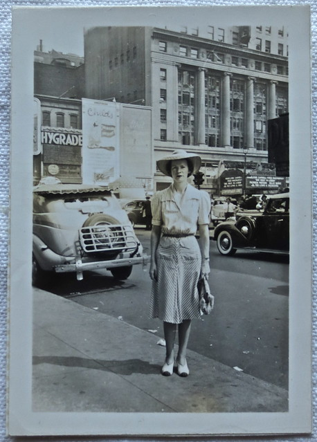 1940s NYC Vintage New York City PhotoTIMES SQUARE WITH WOMAN STANDING