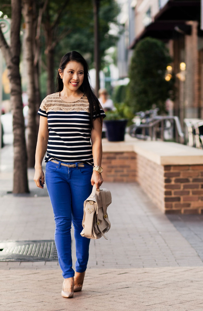 ann taylor striped lace yoke top, asos cobalt blue pants, via spiga nude pointed pumps | cute & little | petite fashion blog