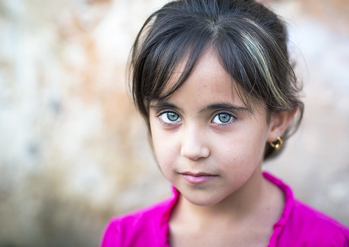 Kurdistan girl with green eyes, Iraq