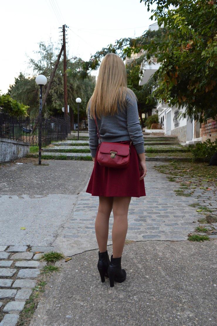 burgundy dress grey sweater11