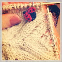 Starting my Rose Red beret with Sublime Cashmere Merino Silk DK and Rowan Kidsilk Haze