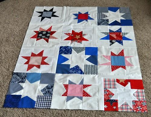 rwb star quilt top