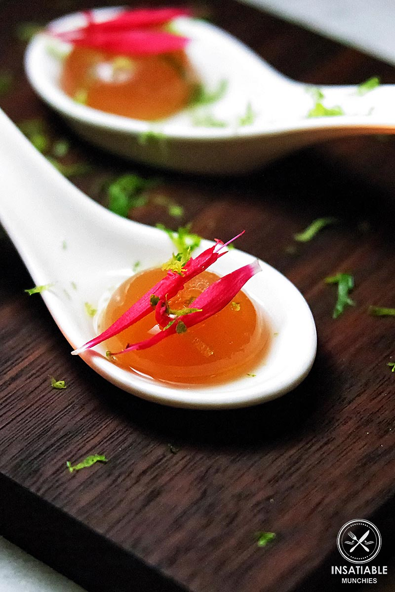 Palate cleanser of gin and apricot liquor, set into a sphere