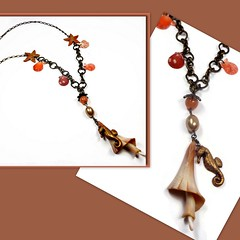 polymer clay Seahorse & Florida Shell necklace