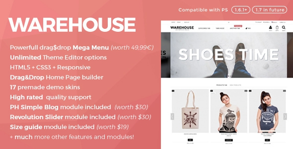 Warehouse v3.8.2 - Responsive Prestashop 1.6 Theme + Blog