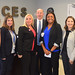From left – Clinician Amy Fazekas, ICES Chief Operating Officer Tricia Jezierny, project manager Karen Logue, State Representative David Labriola (R-131), project manager Cherelle Jenkins, State Representative Rosa Rebimbas (R-70), and Taylor Scarpone posed for a group photo during a tour of ICES, Inc. in Naugatuck.