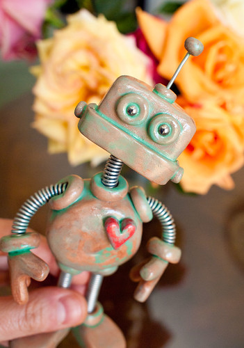 Patina Paul Garden Robot Sculpture by HerArtSheLoves