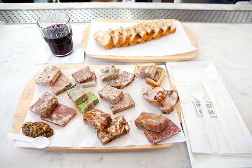 My Charcuterie Platter (10 different terrines) with the Petit Chapeau Bordeaux and baguette