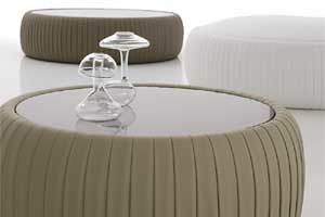 Adjustable Height Round Glass Top Coffee Table With 4 Storage Ottomans
