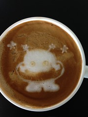 Today's latte. Cosmo Hoshimaru, mascot of Expo '85, Tsukuba, Japan.