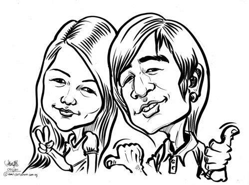 Couple caricatures in pen and brush 09122011