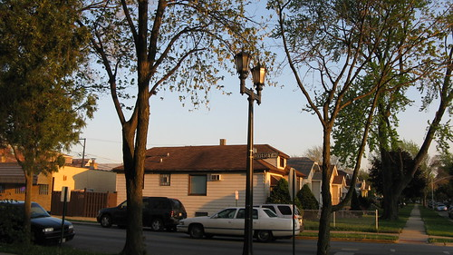 Rustic twin street lamps from the past on West Diversey Avenue. Elmwood Park Illinois USA. April 2012. by Eddie from Chicago