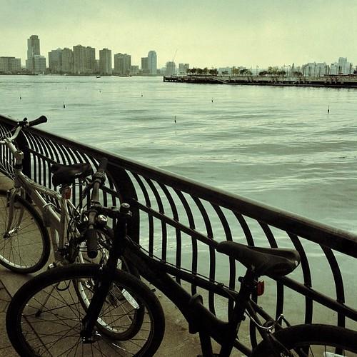 Foggy day bike ride along Henry Hudson's river.