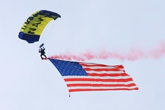 2012 Smyrna Air Show: Navy Leapfrogs with U.S. Flag