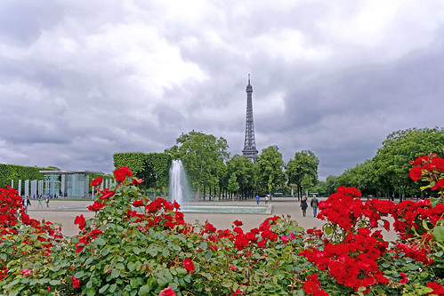 Paris forever. Flowered Eiffel Tower.