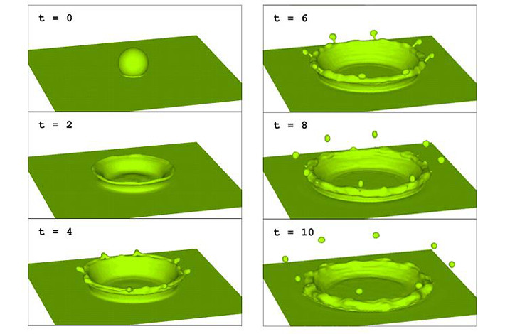 This simulation of a droplet of liquid falling into a pool of liquid was modeled using Los Alamos National Laboratory's Computational Fluid Dynamics Library