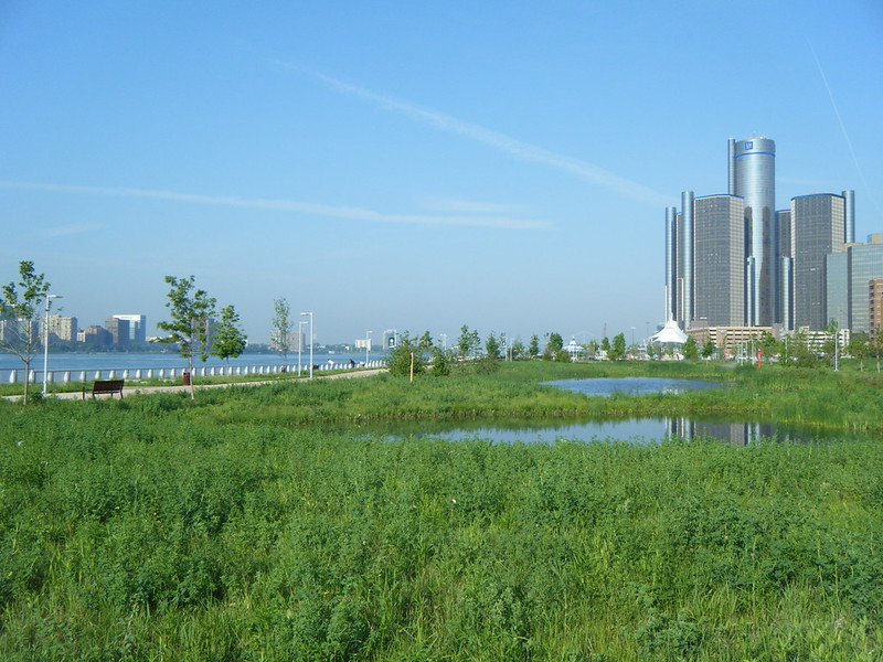 Renaissance Center and river walk