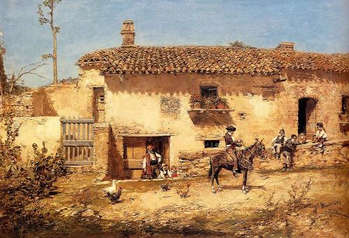 Tertulia en el cortijo. José Benlliure y Gil (1855-1937). Óleo sobre lienzo